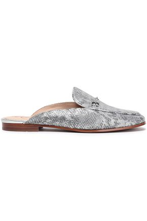 SAM EDELMAN Snake-print metallic leather slippers