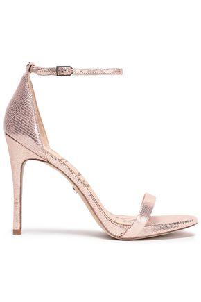 SAM EDELMAN Metallic lizard-effect leather sandals