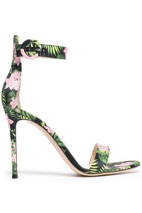 GIANVITO ROSSI Floral-print satin sandals