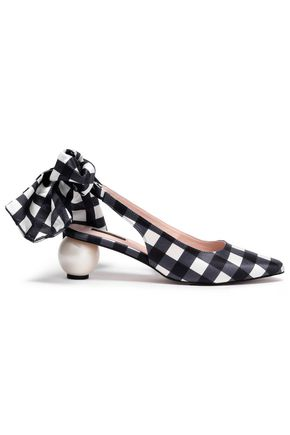 MOTHER OF PEARL Olivia embellished checked cotton and silk-blend slingback pumps