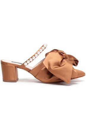 MOTHER OF PEARL Ivy bow-embellished satin mules