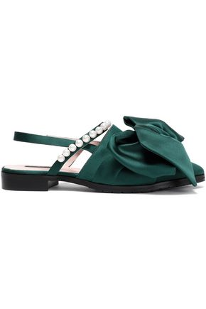 MOTHER OF PEARL Chelsea bow-embellished satin slingback point-toe flats