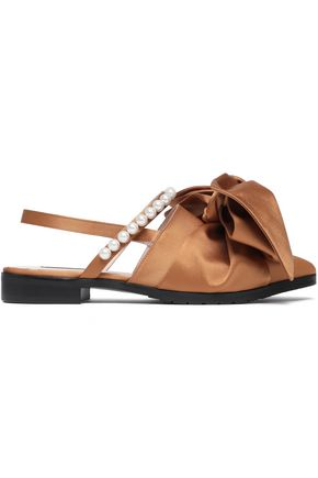 MOTHER OF PEARL Embellished satin slingback point-toe flats