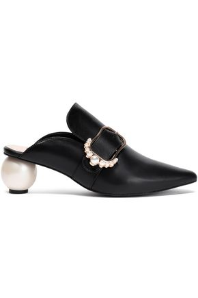 MOTHER OF PEARL Embellished leather mules