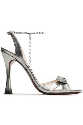 ALEXACHUNG Embellished metallic leather sandals