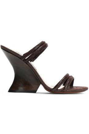 ALEXACHUNG Suede-trimmed lizard-effect leather sandals