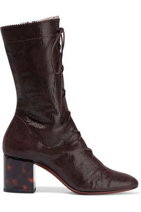 ALEXACHUNG Lace-up lizard-effect leather boots