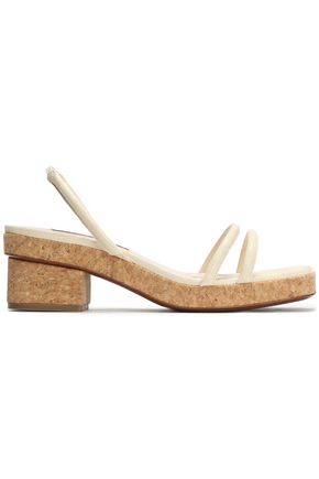 ALEXACHUNG Cork-trimmed lizard-effect leather sandals