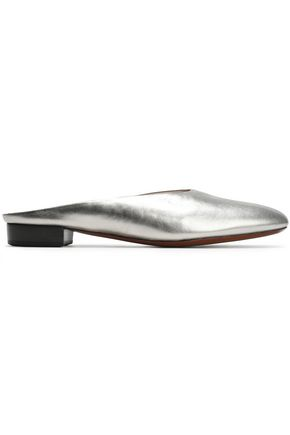ALEXACHUNG Metallic-leather slippers