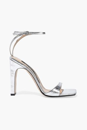 SERGIO ROSSI Sr1 metallic crinkled-leather sandals