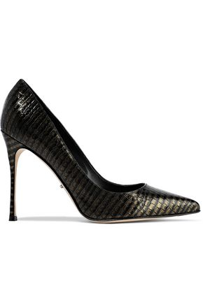 SERGIO ROSSI Godiva metallic croc-effect leather pumps