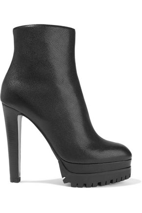 SERGIO ROSSI Textured-leather platform ankle boots