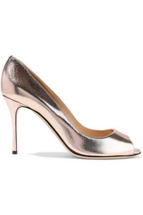 SERGIO ROSSI Godiva metallic cracked-leather pumps