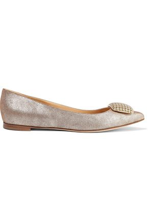SERGIO ROSSI Eloise crystal-embellished metallic leather point-toe flats