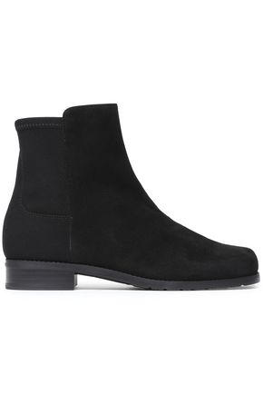 STUART WEITZMAN Stretch-knit and suede ankle boots
