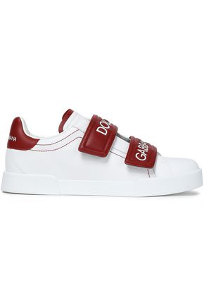 DOLCE & GABBANA Embossed two-tone leather sneakers