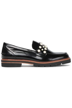 STUART WEITZMAN Faux pearl-embellished glossed-leather loafers