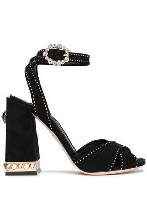 DOLCE & GABBANA Gold tone-trimmed embellished suede sandals