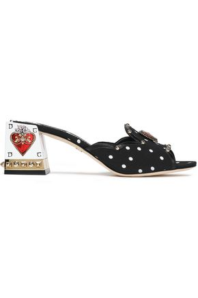 DOLCE & GABBANA Embellished leather-trimmed crepe sandals