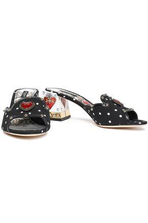 DOLCE & GABBANA Embellished leather-trimmed crepe sandals