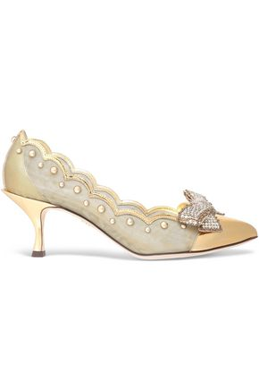 DOLCE & GABBANA Metallic-paneled scalloped embellished mesh pumps