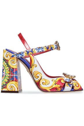 DOLCE & GABBANA Crystal-embellished printed patent-leather sandals