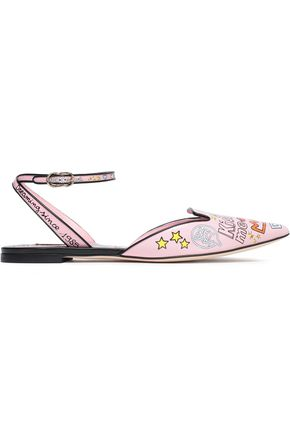 DOLCE & GABBANA Printed leather slingback point-toe flats