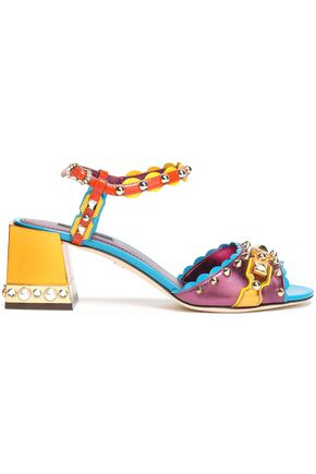 DOLCE & GABBANA Color-block embellished leather sandals