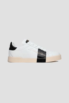 DOLCE & GABBANA Two-tone printed leather sneakers