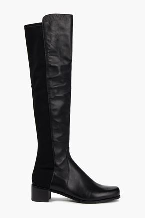 STUART WEITZMAN Jersey-paneled leather over-the-knee boots