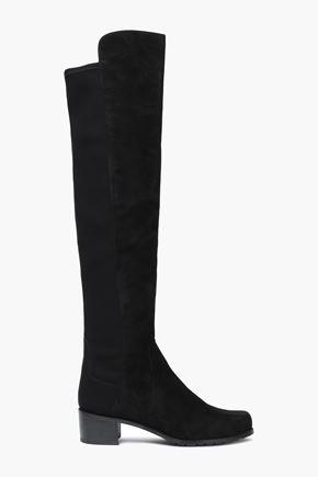 STUART WEITZMAN Jersey-paneled suede knee boots