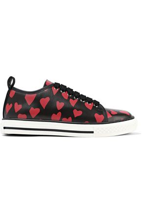 RED(V) Printed leather sneakers