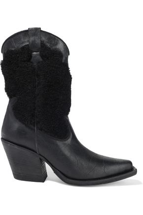 McQ Alexander McQueen Tammy shearling-paneled distressed leather boots