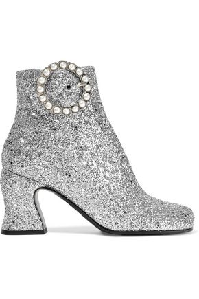 McQ Alexander McQueen Kitty faux pearl-embellished glittered canvas ankle boots