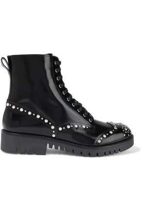 McQ Alexander McQueen Bess studded glossed-leather ankle boots