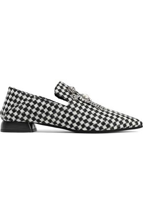 McQ Alexander McQueen Rose embellished checked jacquard slippers