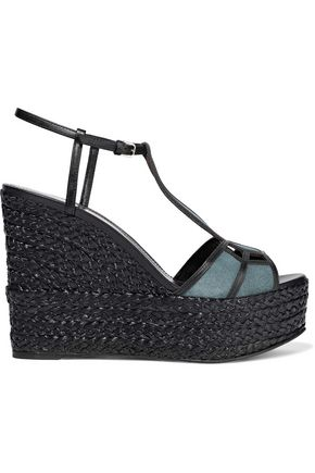SERGIO ROSSI Easy Puzzle cutout leather and suede wedge sandals