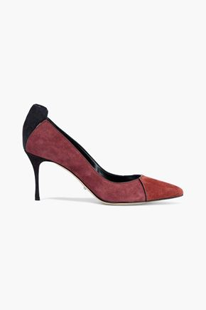SERGIO ROSSI Secret patent leather-trimmed color-block suede pumps