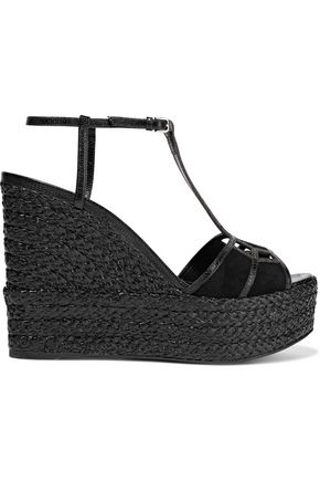 SERGIO ROSSI Easy Puzzle cutout snake-effect leather and suede wedge sandals