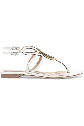 SERGIO ROSSI Farrah ring-embellished cutout leather slingback sandals