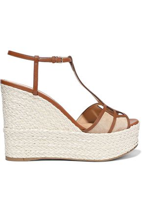 SERGIO ROSSI Easy Puzzle cutout suede and leather wedge espadrille sandals