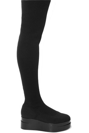 ROBERT CLERGERIE Laurian stretch-knit platform over-the-knee boots