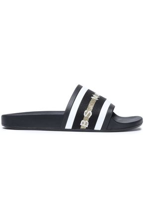 MARC JACOBS Printed metallic-trimmed grosgrain and rubber slides