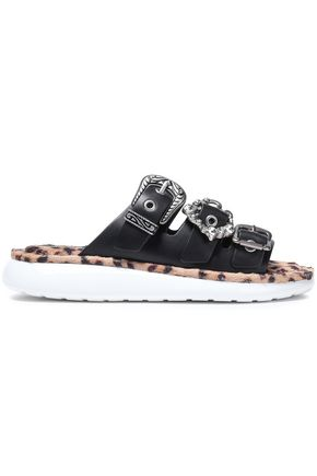 MARC JACOBS Buckle-detailed embellished leather slides