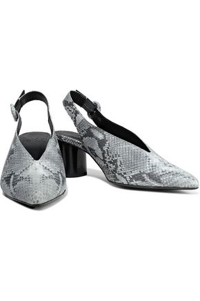 IRIS & INK Snake-effect canvas slingback pumps