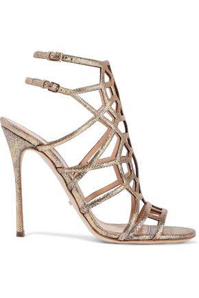 SERGIO ROSSI Laser-cut glittered metallic textured-leather sandals