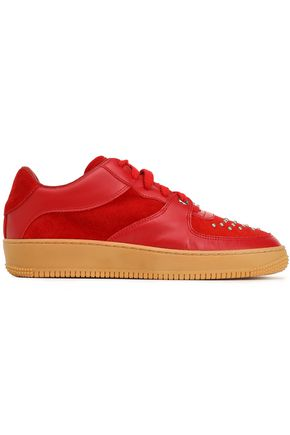 RED(V) Glam Slam leather and studded suede sneakers