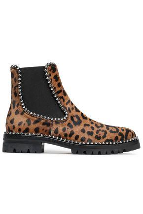 ALEXANDER WANG Studded leopard-print calf hair ankle boots