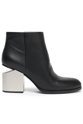 ALEXANDER WANG Bagi cutout paneled metallic leather ankle boots