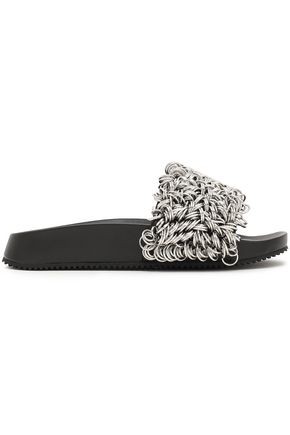 ALEXANDER WANG Suki ring-embellished leather slides